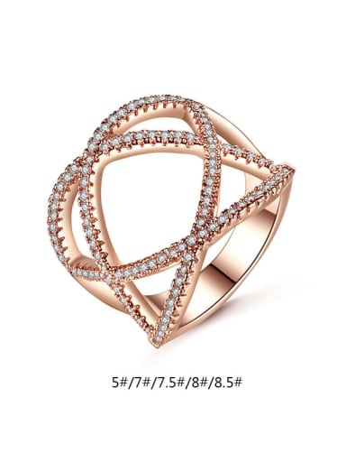 Copper Cubic Zirconia Hollow Geometric Minimalist Band Ring