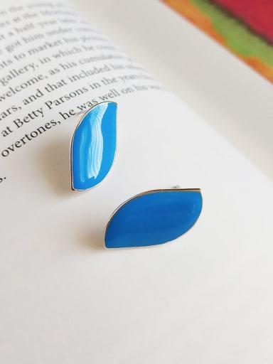 925 Sterling Silver Enamel Geometric Minimalist Stud Earring