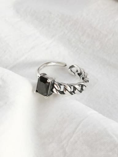 925 Sterling Silver Cubic Zirconia Black Square Vintage Band Ring