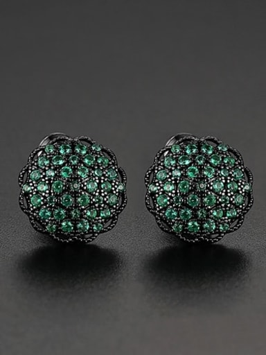 Green t04e24 Copper Cubic Zirconia Flower Dainty Cluster Earring