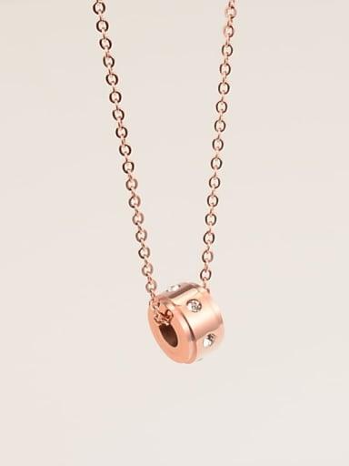 Titanium Rhinestone  Round Necklace