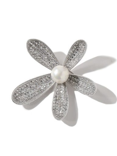 silvery Copper Cubic Zirconia White Flower Dainty Brooches