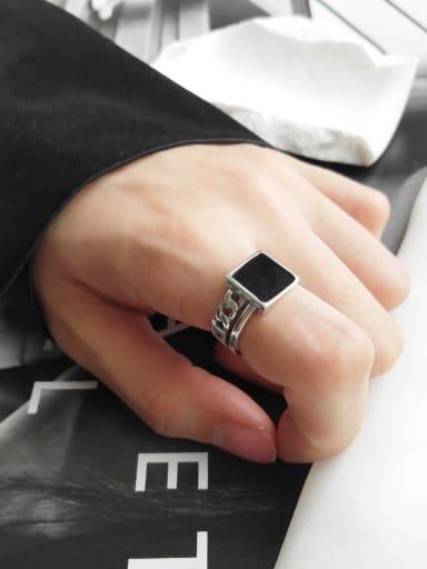 925 Sterling Silver Black Square Enamel Minimalist Blank Ring