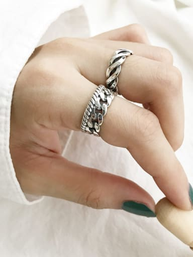 925 Sterling Silver  Vintage Twist Chain Free Size Band Ring