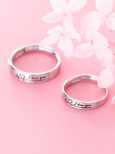 925 Sterling Silver With Platinum Plating  Letter I LOVE UJ Couple Rings