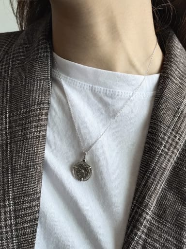 925 Sterling Silver Round Vintage Initials Necklace