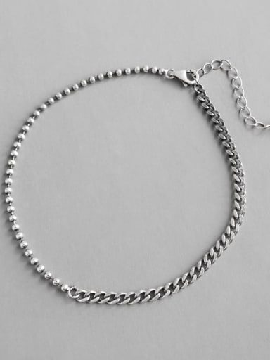 S925 Sterling Silver  Antique Geometric Gead Chain  Anklet