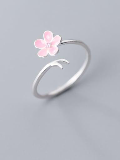 925 Sterling Silver  Minimalist Enamel Pink Flower Free Size Ring