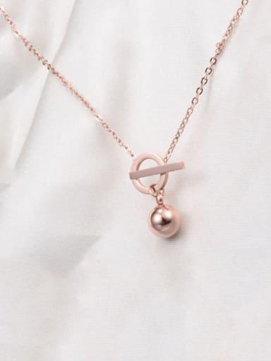 Rose Gold Titanium Smooth Bead Necklace