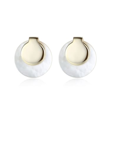 925 Sterling Silver Shell White Round Minimalist Stud Earring