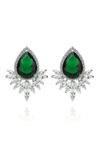 Emerald 02d03 Copper Cubic Zirconia Flower Trend Stud Earring