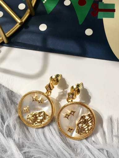 Leo Copper Shell White Constellation Minimalist Drop Earring