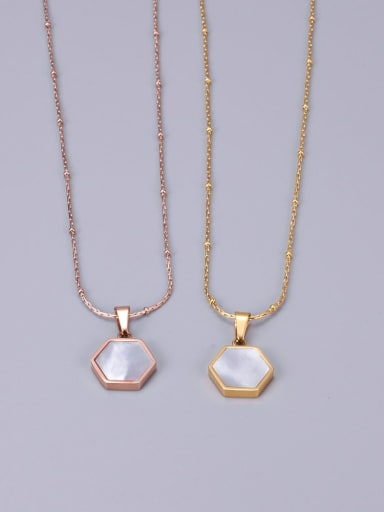 Titanium  White Shell Geometry Hexagon Necklace