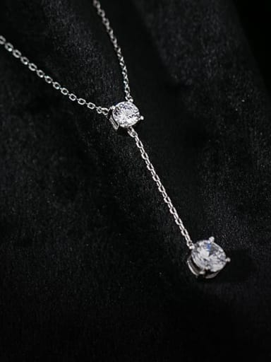 925 Sterling Silver Cubic Zirconia Tassel Minimalist Lariat Necklace