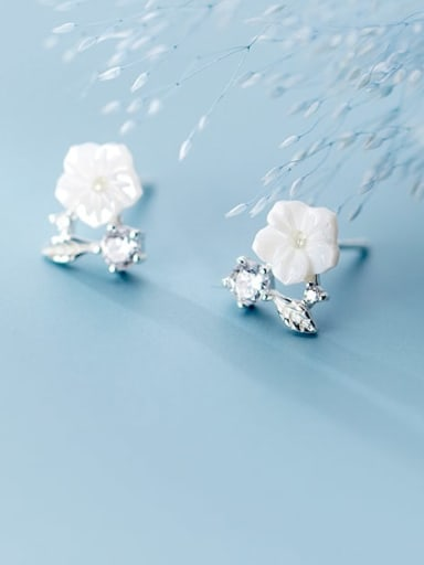 925 Sterling Silver Resin  Flower Minimalist Stud Earring