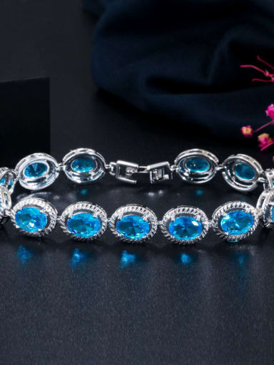 blue Copper Cubic Zirconia Geometric Minimalist Bracelet