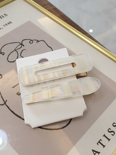 Group A Alloy Cellulose Acetate One word folder set Bangs Clip colorful water drops square Hair Barrette