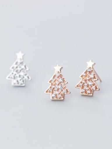 925 Sterling Silver Rhinestone  Christmas tree Minimalist Stud Earring