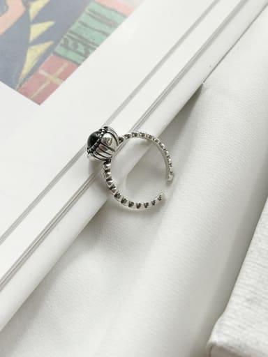 925 Sterling Silver Carnelian Black Round Minimalist  Free Size Band Ring