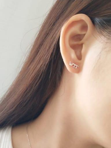 925 Sterling Silver Letter TWFIN  Minimalist Stud Earring