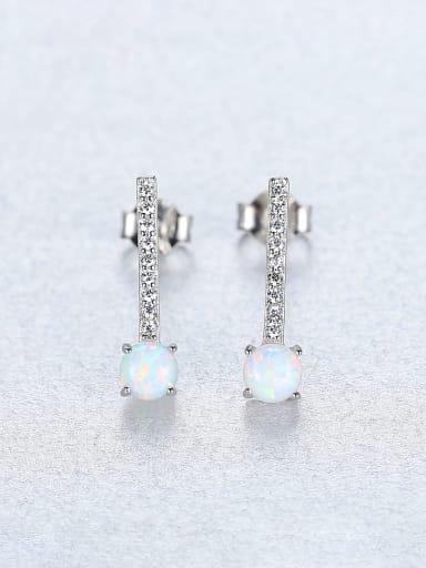 White 18C11 925 Sterling Silver Cubic Zirconia  Minimalist Geometric  Stud Earring