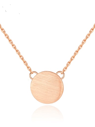 925 Sterling Silver Simple glossy round pendant Necklace