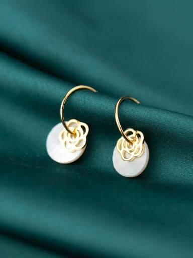 925 Sterling Silver Shell  Round Minimalist Hook Earring