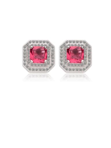 Copper Cubic Zirconia Multi Color Square Dainty Stud Earring