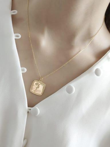 925 Sterling Silver Retro square pendant  Necklace