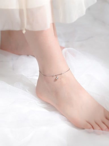 925 Sterling Silver Round Cute bell Anklet