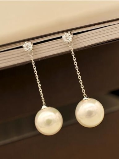 Titanium Imitation Pearl White Tassel Minimalist Threader Earring
