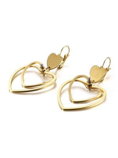 Golden Stainless Steel Hollow  Heart Minimalist Hook Earring