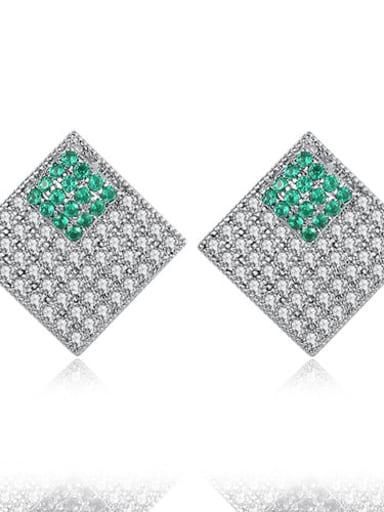 Main stone green platinum t02b20 Copper Cubic Zirconia Square Luxury Stud Earring