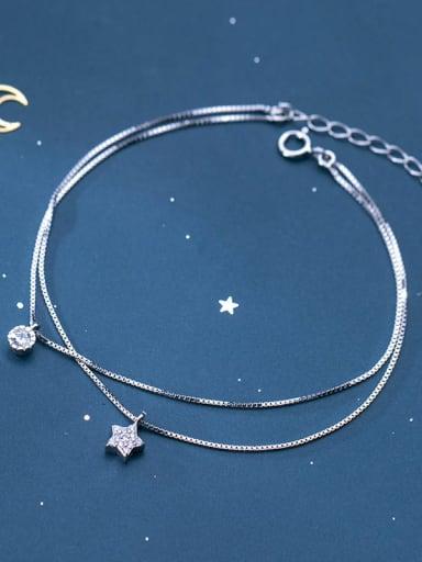 925 sterling silver cubic zirconia star minimalist strand bracelet