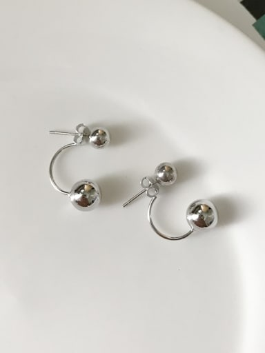 925 Sterling Silver Smooth  Round  Earring