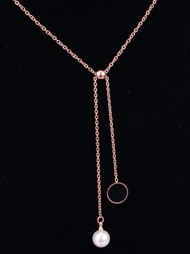 Titanium Imitation Pearl White Enamel Tassel Trend Lariat Necklace