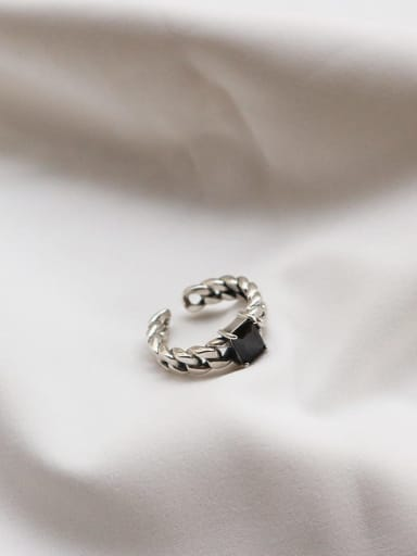 925 Sterling Silver Cubic Zirconia Black Square Vintage Solitaire Ring
