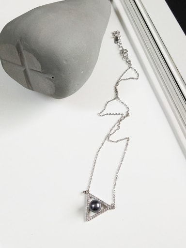 925 Sterling Silver Imitation Pearl Gray Triangle Minimalist Initials Necklace