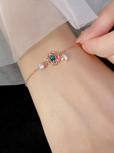 925 Sterling Silver Cubic Zirconia Round Vintage Link Bracelet