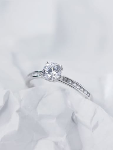 925 Sterling Silver Cubic Zirconia Round Minimalist Free Size Ring