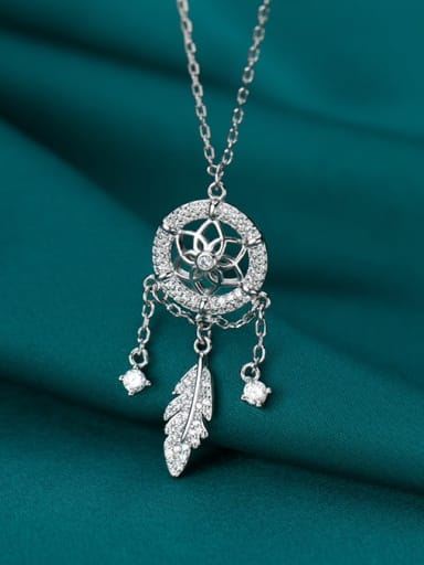925 Sterling Silver Cubic Zirconia Fashion simple grid tassel feathers  Necklace