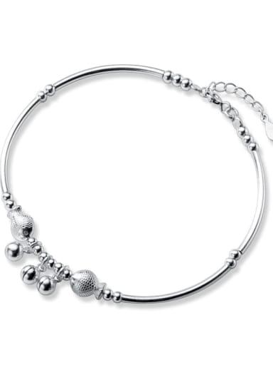 925 Sterling Silver Vintage Bell  Bead Anklet