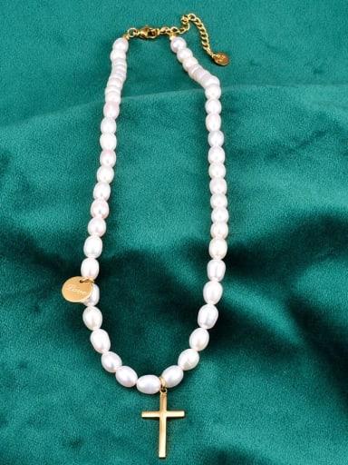 Titanium Imitation Pearl Locket Minimalist Necklace