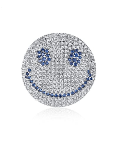 Copper Cubic Zirconia  Luxury Full Diamond  Smiley  Brooch
