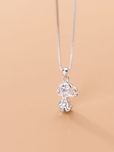 925 Sterling Silver Cubic Zirconia Cute Dog Charm Necklace