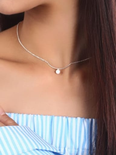 925 Sterling Silver Bead  Solid Ball Socket Chain Necklace