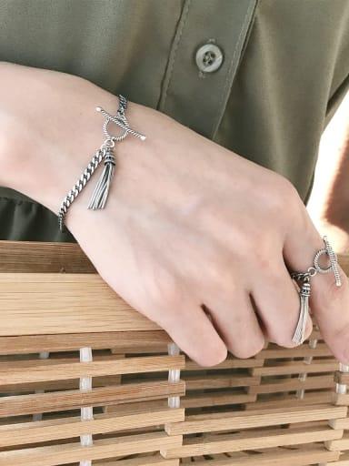 925 Sterling Silver Tassel Vintage Link Bracelet