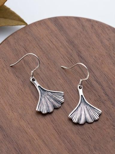 925 Sterling Silver  Vintage Leaf Hook Earring