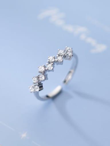 925 Sterling Silver Cubic Zirconia Irregular Dainty Band Ring