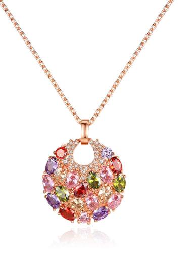 Copper Cubic Zirconia Luxury Multi Color Round Pendant  Necklace